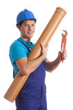 Worker with tube and spanner Royalty Free Stock Image