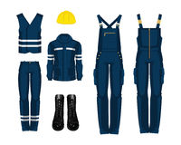 Worker uniform, boots and protective helmet. Vector illustration of worker uniform, boots and protective helmet isolated on white background Royalty Free Stock Photography