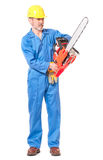 Worker with a chainsaw. Worker in a uniform with a chainsaw isolated on white background stock image