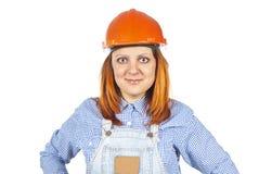 Worker in uniform with helmet stock image