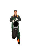 Worker in uniform with a leaf blower Stock Images