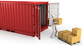 Worker unloads container. Isolated on white background Royalty Free Stock Photography