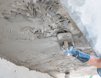 Worker use plasterize the ceiling and wall concrete Royalty Free Stock Photos