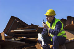 Worker use walkie-talkie Royalty Free Stock Photo