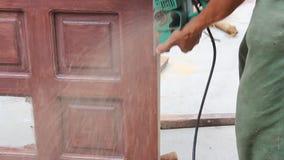 Worker used wood planers making wood door & Worker Used Wood Planers Making Wood Door Stock Video - Video ... pezcame.com
