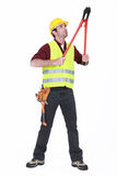 Worker using bolt cutters Stock Images