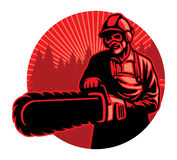 Worker using the chainsaw. Vector of worker using the chainsaw Royalty Free Stock Photography