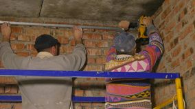 Worker Using Jackhammer stock video