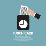 Worker Using Punch Card For Time Check. Vector Illustration Royalty Free Stock Photo