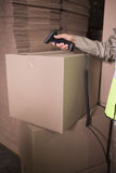 Worker using scanner in warehouse Royalty Free Stock Photo