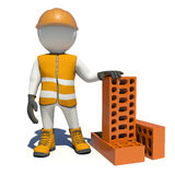 Worker in vest, shoes and helmet holding big red Royalty Free Stock Photo