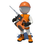 Worker in vest, shoes and helmet holding electric Stock Image