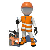 Worker in vest, shoes and helmet holding electric Stock Photo