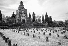 Worker village of Crespi d'Adda: the graveyard. Black and white Stock Photos