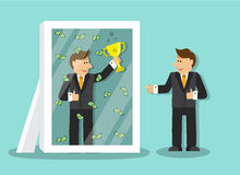 Worker wants to succeed. Businessman looks at himself in the mirror and sees that it is a success and a lot of money and holding a gold cup vector illustration