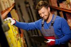 Worker on a warehouse Royalty Free Stock Photo