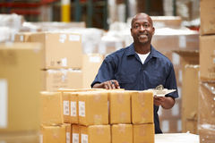 Worker In Warehouse Preparing Goods For Dispatch Royalty Free Stock Photos