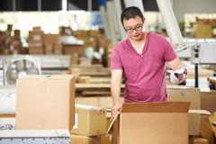 Worker In Warehouse Preparing Goods For Dispatch Stock Photography