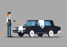 Worker washing a car at the carwash. Cool vector flat illustration on clean car vector illustration