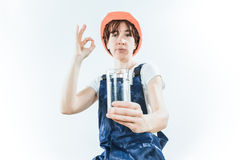 Worker with water glass Royalty Free Stock Image