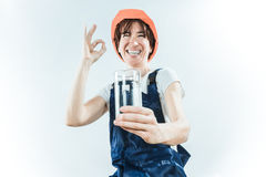 Worker with water glass Royalty Free Stock Images