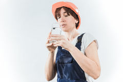 Worker with water glass Stock Image
