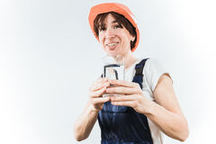 Worker with water glass Royalty Free Stock Photos