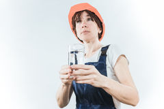Worker with water glass Stock Photo