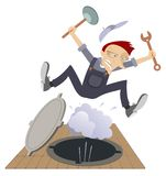 Worker, water and steam gushing from the sewer manhole illustration. Frightened worker with spanner and plunger is tossed up by water and steam gushing from the vector illustration