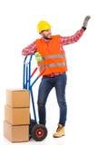 Worker waving hand Stock Image