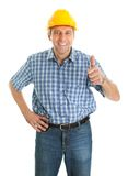 Worker wearing hard hat Stock Images