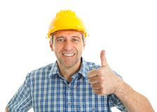 Worker wearing hard hat Royalty Free Stock Images
