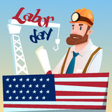 Worker Wearing Hard Hat, Builder Industrial Background, American Labor Day USA Holiday Stock Photo