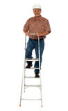 Worker wearing hard hat climbing ladder Stock Image