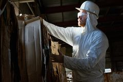 Worker Wearing Hazmat Suit Sorting Reusable Cardboard at Factory. Side view portrait of factory worker wearing biohazard suit sorting reusable cardboard on waste Royalty Free Stock Image