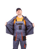 Worker wearing overalls. Stock Image
