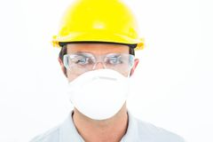 Worker wearing protective mask and glasses Stock Images
