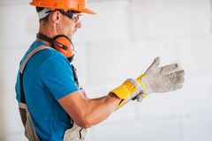 Worker Wearing Safety Gloves stock photography