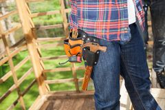 Worker Wearing Toolbelt At Site Royalty Free Stock Photo