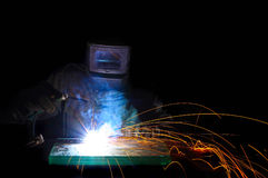 Worker weld metal royalty free stock photo