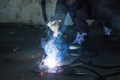 Worker weld metal Royalty Free Stock Images