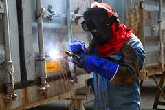 Worker welder container box maintenance Royalty Free Stock Photography