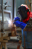 Worker welder container box maintenance Stock Photography