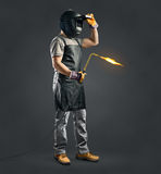 Worker welder with gas welding machine Stock Photo