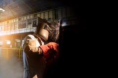 Welding steel piping Stock Photo