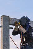 Worker welding parts of stell construction Royalty Free Stock Photos