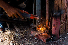 Worker are welding of steel. Royalty Free Stock Photo