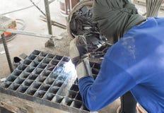Worker welding steel. Royalty Free Stock Photos