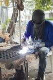 Worker welding steel. Royalty Free Stock Photography