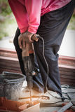 Worker is welding steel on a construction site Royalty Free Stock Images